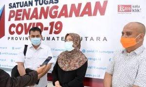 Sekretaris Daerah Provinsi Sumut R Sabrina usai rapat dengan Menko Maritim Luhut Binsar Pandjaitan secara virtual